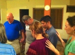 Commissioning the team to go back to their own missionfield in South Carolina.