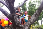 Ruth and her friend, Slaton, celebrating her 5th birthday in a tree